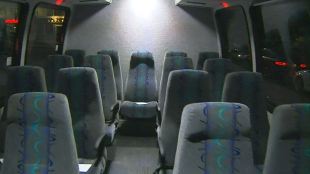 The inside of the 'Liberty Village Express' is shown during a trial run in October.