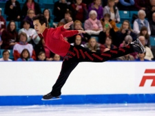 Patrick Chan skates to a gold medal during the men's free program at the Canadian figure skating championships in Moncton, N.B., on Sunday, Jan. 22, 2012. (THE CANADIAN PRESS/Andrew Vaughan)