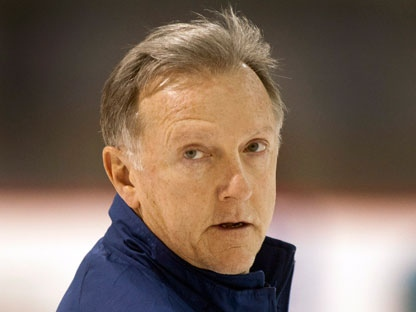 Toronto Maple Leafs head coach Ron Wilson keeps an eye on the team's practice on Friday, March 2, 2012 in Brossard, Que. (THE CANADIAN PRESS/Ryan Remiorz)