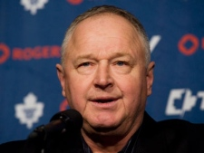 Randy Carlyle speaks at a news conference in Montreal, Saturday, March 03, 2012, announcing his appointment as new head coach of the Toronto Maple Leafs hockey team. THE CANADIAN PRESS/Graham Hughes