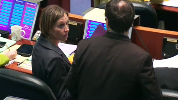TTC chair Karen Stintz, councillor for Eglinton-Lawrence, participates in a vote in Toronto City Hall on Monday, March 5, 2012.