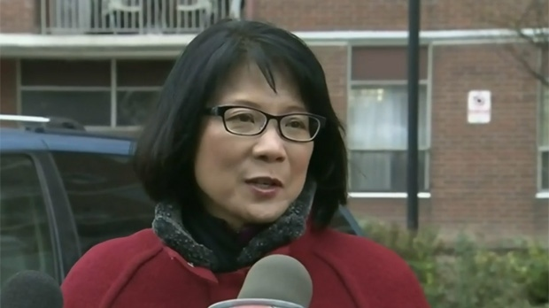 Mayoral candidate Olivia Chow makes a campaign announcement outside a private rental building Monday October 20, 2014.
