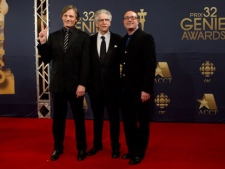 """Viggo Mortensen (left), David Cronenberg and Martin Katz (right), from the movie """"A Dangerous Method' arrive on the red carpet at the 32nd Genie Awards in Toronto on Thursday, March 8, 2012. (THE CANADIAN PRESS/Chris Young.)"""