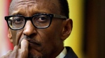 Rwandan President Paul Kagame listens to a question while participating in a panel discussion on the campus of Tufts University, Tuesday, April 22, 2014, in Medford, Mass. (AP Photo/Steven Senne)