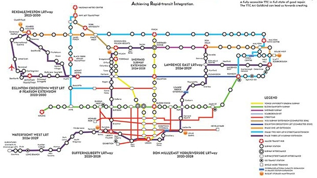 "Ari Goldkind's transit proposal aims to introduce 207 kilometres of new rapid transit, 120 new stations and six new ""LRTways"" for running surface light rail on streets with a reversible lane to match the direction of peak traffic at different times, similar to the one on Jarvis Street. Goldkind estimates his plan will cost $57 billion over 15 years. (SUPPLIED IMAGE)"