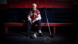 """Gordie Howe is shown a a recent handout photo from the new book """"Mr. Hockey."""" (The Canadian Press/HO-Paul Horton/Neue Studios)"""