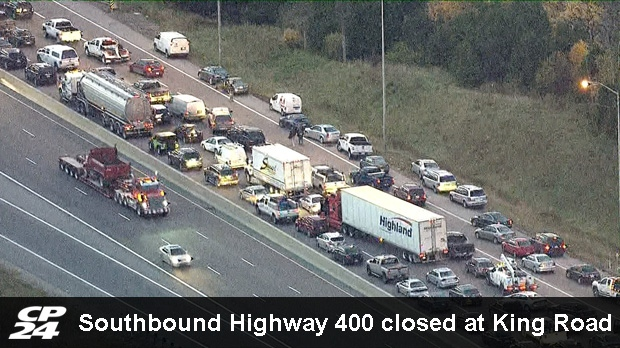 Southbound Highway 400 closed at King Road | CP24 com