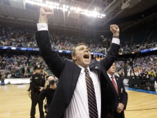 Lehigh head coach Brett Reed reacts at the end of an NCAA tournament second-round college basketball game against Duke in Greensboro, N.C., on Friday, March 16, 2012. Lehigh won 75-70. (AP Photo/Chuck Burton)