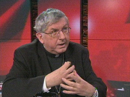 Cardinal Thomas Collins speaks with Stephen LeDrew Thursday afternoon. (CP24)