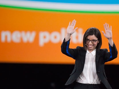 NDP leadership candidate Niki Ashton waves on stage during the NDP leadership convention in Toronto on Friday, March 23, 2012. (THE CANADIAN PRESS/Pawel Dwulit)