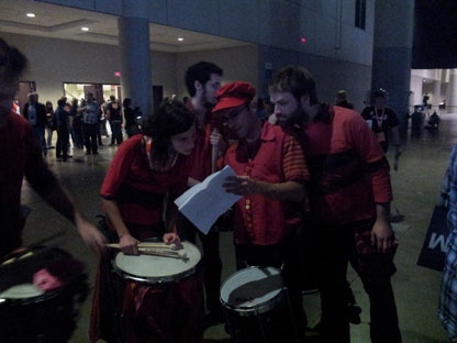 Drummers prepare to perform at the NDP leadership convention in Toronto on Friday, March 23, 2012. (CP24/Sandie Benitah)
