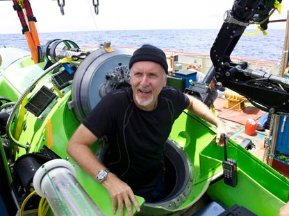 Filmmaker and National Geographic Explorer-in-Residence James Cameron emerges from the Deepsea Challenger submersible after his successful solo dive to the Mariana Trench, the deepest part of the ocean, Monday, March 26, 2011. (AP Photo/Mark Theissen, National Geographic)