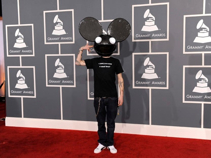 Canadian DJ Deadmau5 arrives at the 54th annual Grammy Awards on Sunday, Feb. 12, 2012, in Los Angeles. (AP Photo/Chris Pizzello)