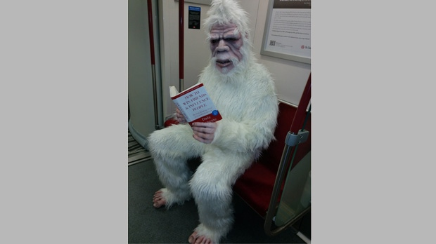 A person dressed in an abominable snowman costume reads a social skills book on a Toronto subway car Tuesday, November, 18, 2014. (Courtesy Britt Aharoni)