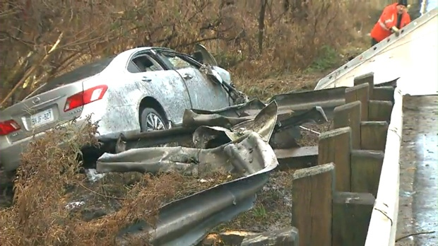 Rally Car Crashed Into Guardrail