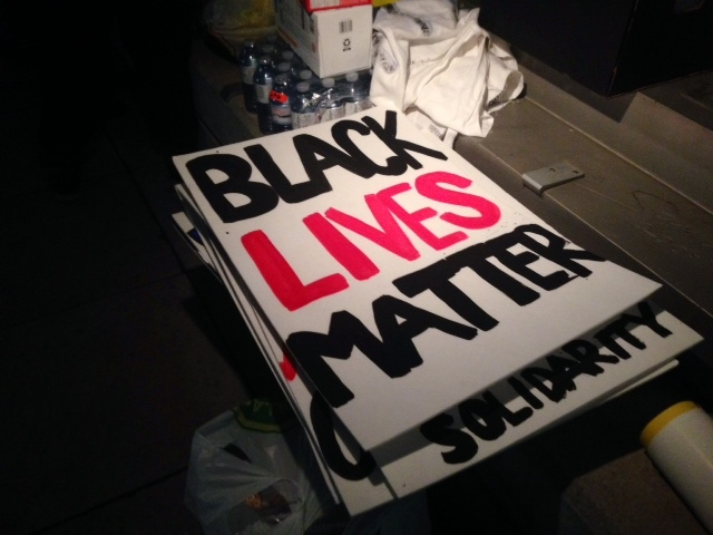 A protest sign that will be used as part of the 'Black Lives Matter' protest outside the U.S. consulate on Tuesday evening is shown. (Cristina Tenaglia/CP24.com)
