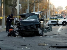 A 24-year-old man was killed in a crash on Mount Pleasant Road, near Stibbard Avenue, on Tuesday, April 3, 2012.