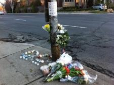 A memorial for 24-year-old David Chiang is pictured on Mount Pleasant Road, near Stibbard Avenue, on Wednesday, April 4, 2012, a day after he was killed in a crash. (CP24/Tom Stefanac)