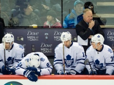 Toronto Maple Leafs head coach Randy Carlyle looks on from the bench during second period NHL hockey action against the Montreal Canadiens in Montreal, Saturday, April 7, 2012. THE CANADIAN PRESS/Graham Hughes