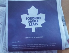 The Leafs took out a full-page ad in Toronto newspapers to apologize to their fans on April 10, 2012. They also posted the apology to their website. (Sandie Benitah/CP24)