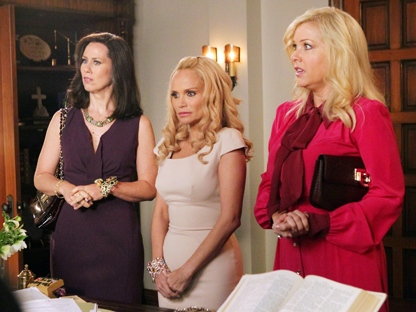 "In this undated image released by ABC, from left, Miriam Shor, Kristin Chenoweth and Jennifer Aspen are shown in a scene from the comedy series ""GCB."" (AP Photo/ABC, Karen Neal)"