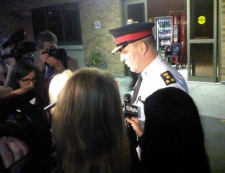 Toronto Police Chief Bill Blair updates the media on the condition of a police officer who was injured while on duty on April 15, 2012. (Farah Nasser/CP24)