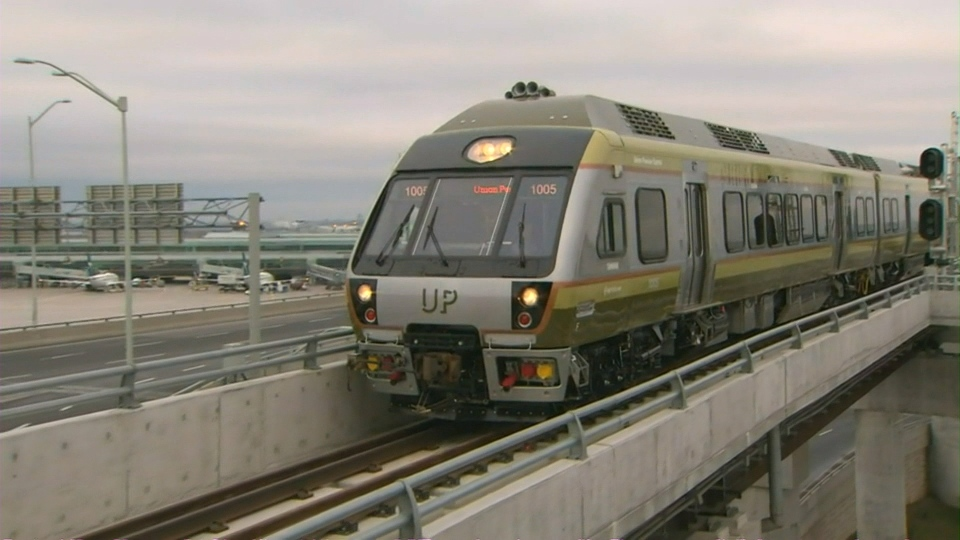 This photo shows the Union Pearson Express train