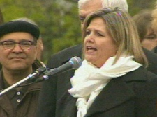 Ontario NDP Leader Andrea Horwath speaks to those gathered at Queen's Park for a labour rally Saturday afternoon. (CP24)