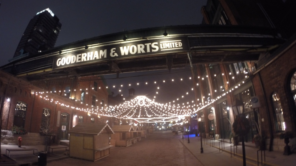 Christmas lights sparkle in Toronto's Distillery District  on Dec. 22, 2014. (George Stamou/CTV Toronto)