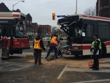 bus and streetcar collide