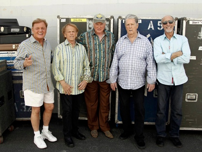 In this April 18, 2012, photo, The Beach Boys, from left, Bruce Johnston, Al Jardine, Mike Love, Brian Wilson and David Marks, pose for a portrait in Burbank, Calif. After decades of prolonged separations, legal spats and near reunions, the core Beach Boys are back together, both on stage and for an upcoming new album. (AP Photo/Matt Sayles)