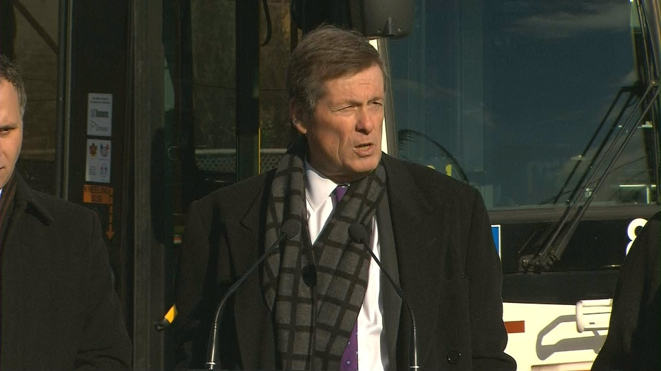 Mayor John Tory speaks with reporters outside Joyce Public School on Jan. 19.