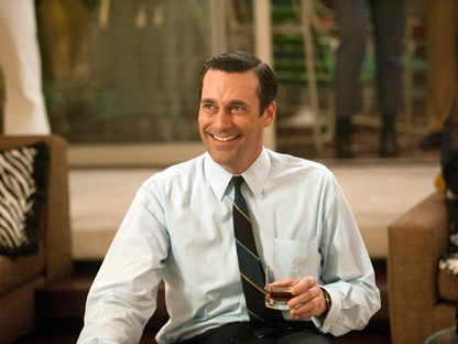Jon Hamm portrays advertising executive Don Draper in a scene from the fifth season premiere of