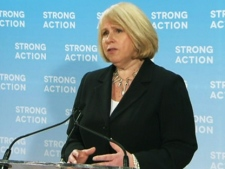 Ontario Health Minister Deb Matthews speaks to reporters in Toronto on Monday, May 7, 2012.