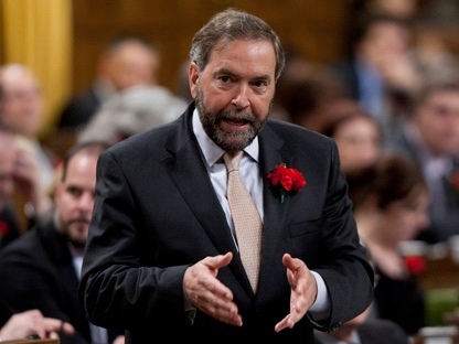 NDP leader Tom Mulcair speaks during Question Period in the House of Commons in Ottawa, Wednesday May 9, 2012. (THE CANADIAN PRESS/Adrian Wyld)