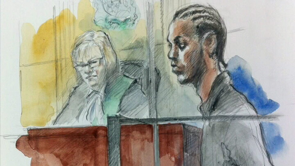 Shaquan Mesquito is seen in this court sketch, Wednesday, Aug. 8, 2012.