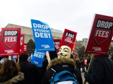 Students protest Ontario tuition costs at the University of Toronto campus in Toronto on Wednesday, Feb. 1, 2012. THE CANADIAN PRESS/Nathan Denette