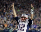New England Patriots quarterback Tom Brady (12) celebrates during the second half of NFL Super Bowl XLIX football game against the Seattle Seahawks on Sunday, Feb. 1, 2015, in Glendale, Ariz. The Patriots won 28-24. (AP Photo/Kathy Willens)