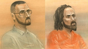 Raed Jaser and Chiheb Esseghaier are shown in these court sketches. (John Mantha / CTV Toronto)