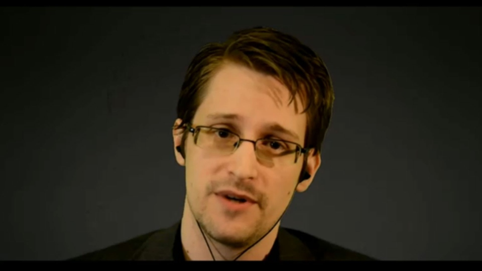 Edward Snowden addresses a group of students at Toronto's Upper Canada College via video link Monday February 2, 2015.
