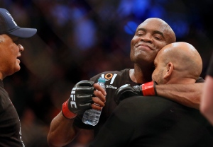Middleweight Anderson Silva celebrates his win over Nick Diaz following their fight at the MGM Grand Garden Arena in Las Vegas on Saturday, Jan. 31, 2015. (AP Photo/Las Vegas Sun/LE Baskow)