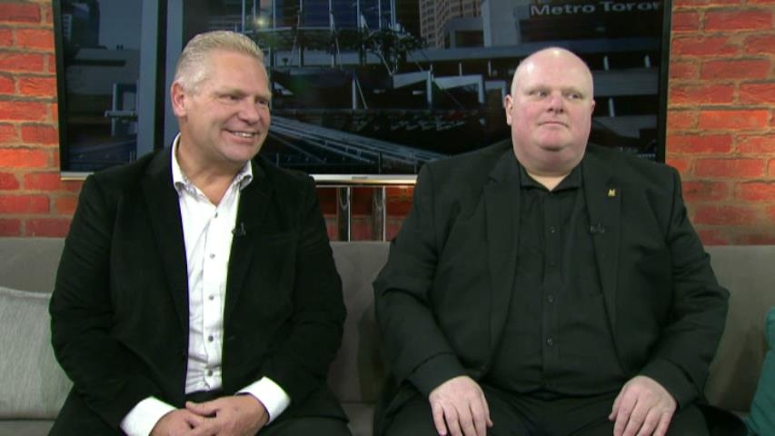 Rob Ford (right) and his brother Doug Ford sit down for an in-studio interview with CP24's Travis Dhanraj Saturday February 7, 2015.
