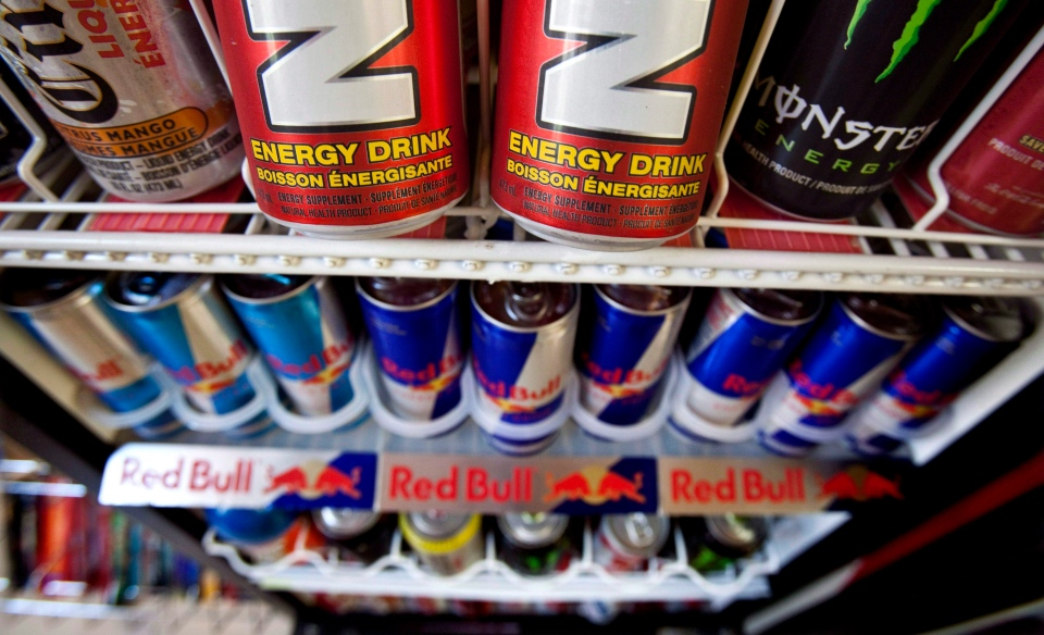 Energy drinks are shown in a store on July 26, 2010 in Montreal. (Paul Chiasson / The Canadian Press)