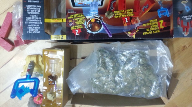 A bag of what appears to be marijuana was found inside a toy purchased at Target on Feb. 11, 2015. (Photo provided by Monika Milewska)