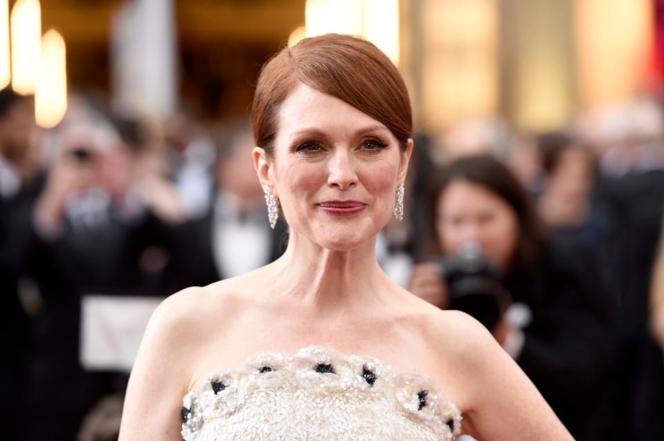 Julianne Moore arrives at the Oscars on Sunday, Feb. 22, 2015, at the Dolby Theatre in Los Angeles. (Chris Pizzello/Invision/AP)