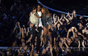 Celebrities may have cornered the market on unconventional baby names like Blue Ivy and North West, but a Swiss branding company is offering help to parents seeking unique monikers for newborns — for a significant price. Beyonce is shown on stage hugging Jay Z and their daughter Blue Ivy as she accepts the Video Vanguard Award at the MTV Video Music Awards at The Forum on Sunday, Aug. 24, 2014, in Inglewood, Calif. THE CANADIAN PRESS/Chris Pizzello/Invision/AP