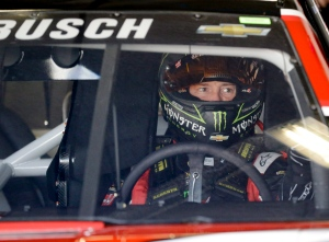 Kurt Busch prepares to leave his garage at Daytona International Speedway, Saturday, Feb. 14, 2015, in Daytona Beach, Fla. (AP Photo/John Raoux)