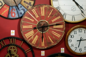 Clocks hang on a wall in Hands of Time, a clock store and repair shop in Savage, Md. in this file photo. (AP /Patrick Semansky)