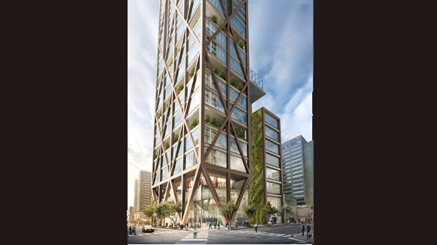 An artist rendering shows what a proposed 80-storey condo tower at Yonge and Bloor would look like.