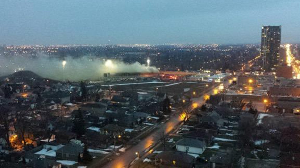 Smoke billows from a construction site at the old Peel Memorial Hospital site in Brampton Monday March 16, 2015. (Andre Malaco / submitted)